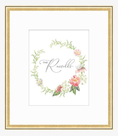 Leanne & Co. Digital Print 8x10 inches / Dorado Bright Gold Peonies + Roses Personalized Wedding Print