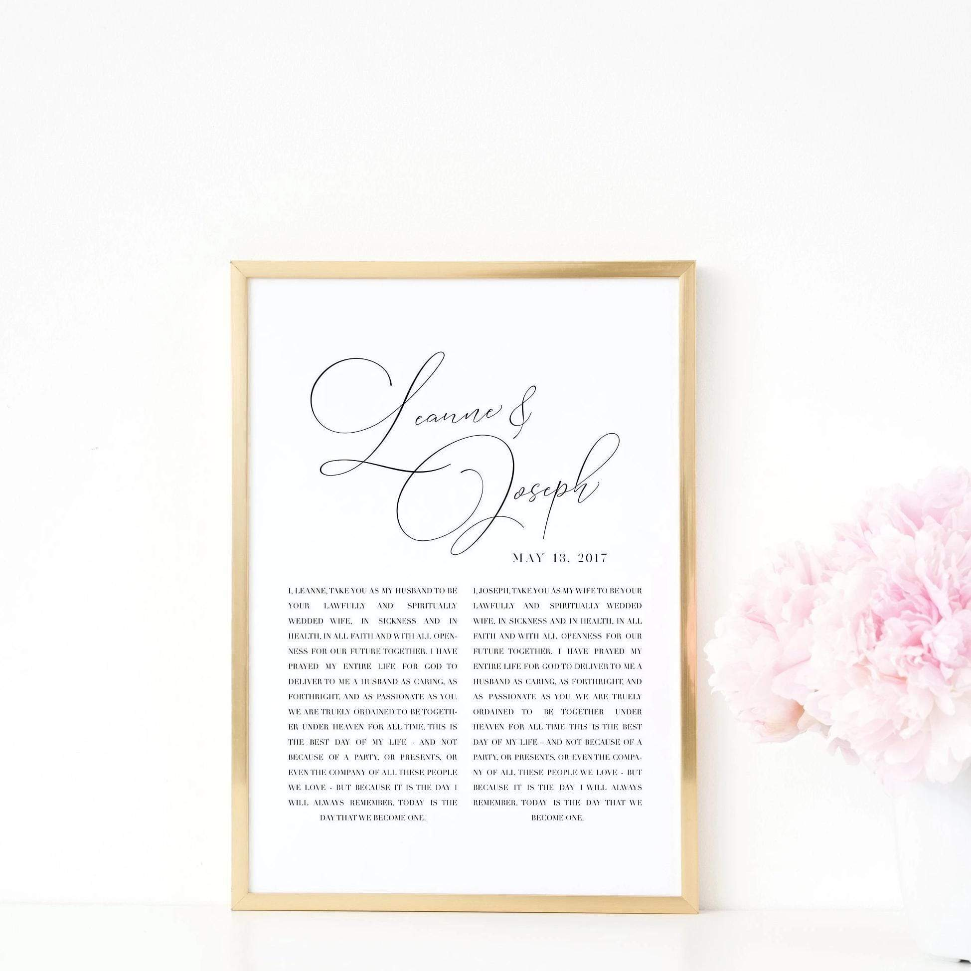 Leanne & Co. Digital Print Handlettered Script Personalized Wedding Vows