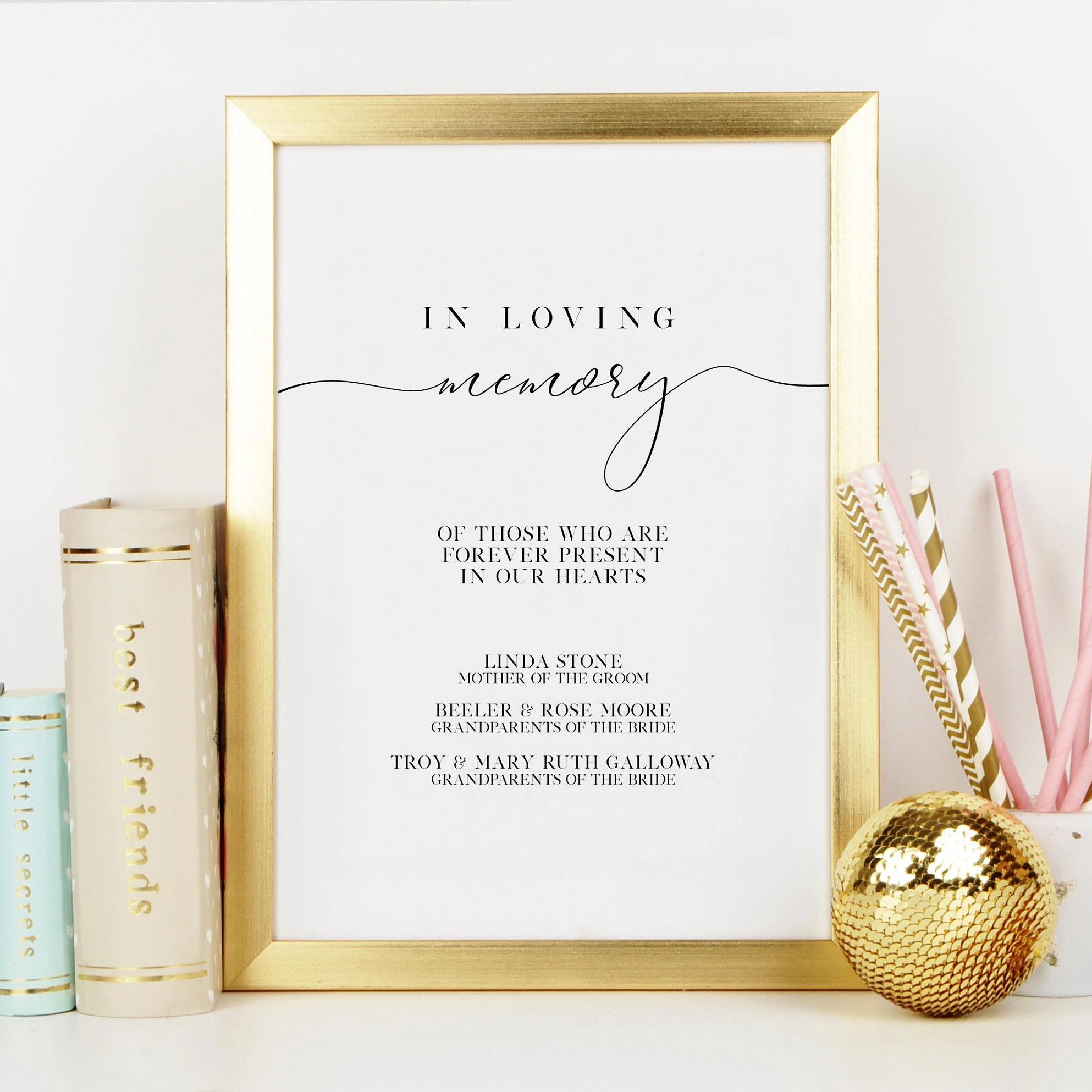 Leanne & Co. Digital Print In Memory Print for Wedding Memorial