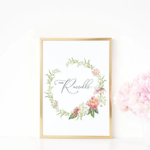 Leanne & Co. Digital Print Peonies + Roses Personalized Wedding Print