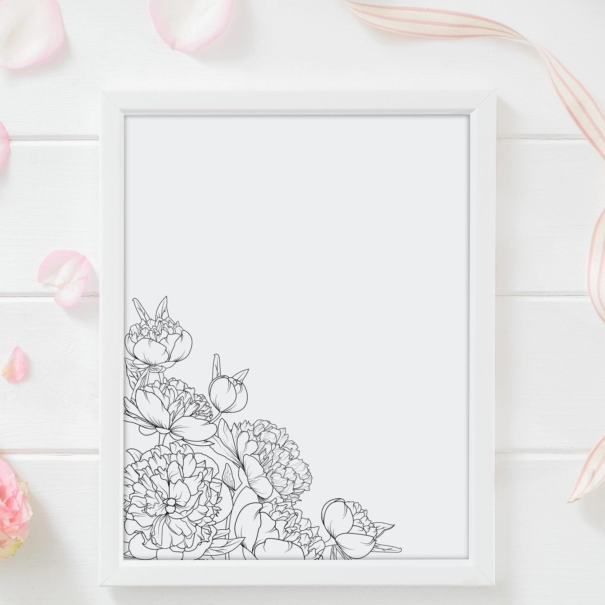 Leanne & Co. Digital Print Peony In the Corner Wall Print