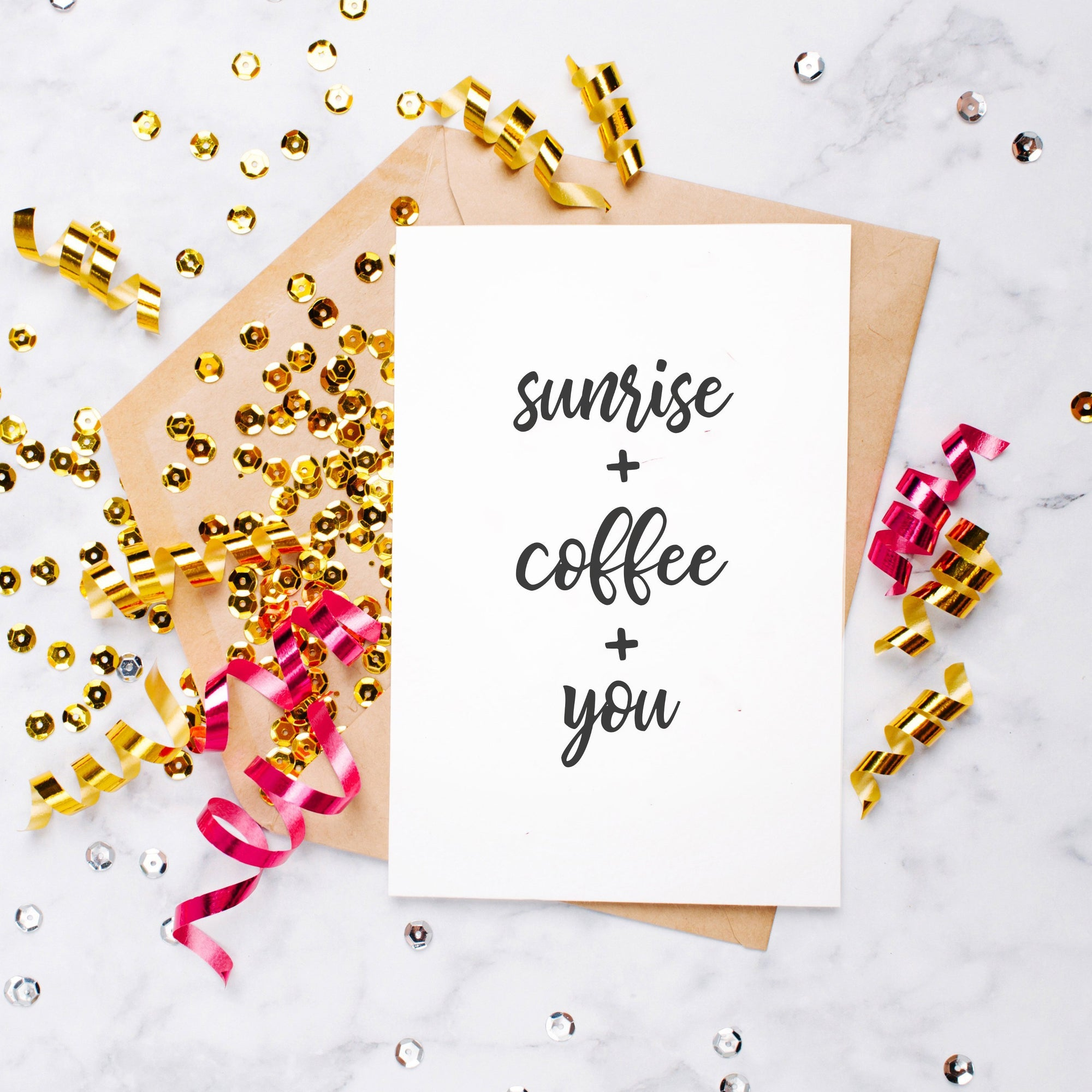 Leanne & Co. Greeting Card Sunrise + Coffee + You Blank Card