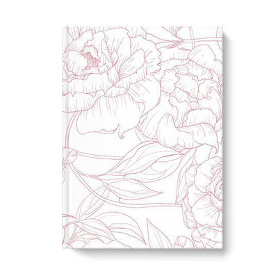 Leanne & Co. Hardcover Journal 6.25x8.25 inch Peony Outline Hardcover Journal