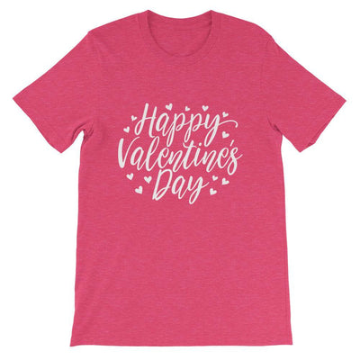Leanne & Co. Heather Raspberry / S Happy Valentine's Day Short-Sleeve Unisex T-Shirt