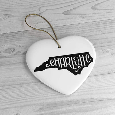 Leanne & Co. Home Decor Heart / One Size Charlotte, NC Ceramic Ornament