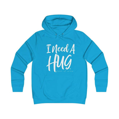 Leanne & Co. Hoodie Hawaiian Blue / XS I Need A Hug(e Glass of Wine) Unisex Hoodie