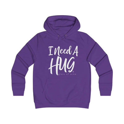 Leanne & Co. Hoodie Purple / XS I Need A Hug(e Glass of Wine) Unisex Hoodie