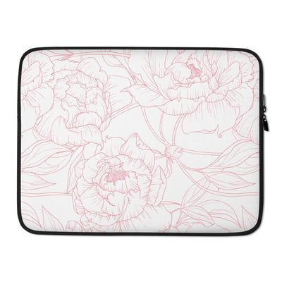 Leanne & Co. Laptop Sleeve 15 in Peony Outline Laptop Sleeve