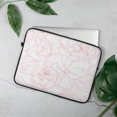 Leanne & Co. Laptop Sleeve Peony Outline Laptop Sleeve