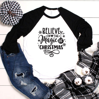 Leanne & Co. Long-sleeve Believe in the Magic of Christmas Unisex Raglan Tee
