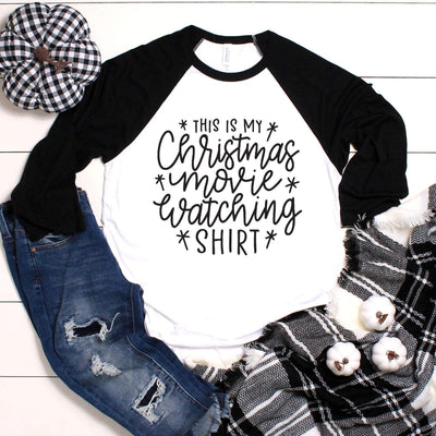 Leanne & Co. Long-sleeve Christmas Movie Watching Shirt Raglan Tee
