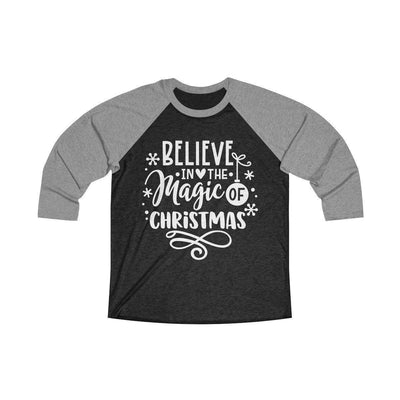 Leanne & Co. Long-sleeve L / Premium Heather / Vintage Black Believe in the Magic of Christmas Unisex Raglan Tee