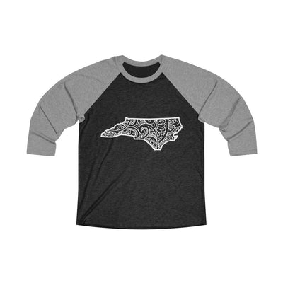 Leanne & Co. Long-sleeve L / Premium Heather / Vintage Black North Carolina Doodle Raglan Tee