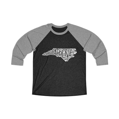 Leanne & Co. Long-sleeve L / Premium Heather / Vintage Black North Carolina Home State Doodle Raglan Tee