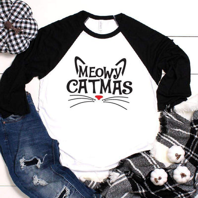 Leanne & Co. Long-sleeve Meowy Catmas Raglan Tee
