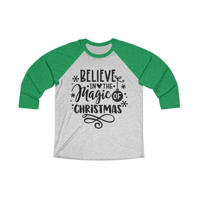 Leanne & Co. Long-sleeve XS / Envy / Heather White Believe in the Magic of Christmas Unisex Raglan Tee