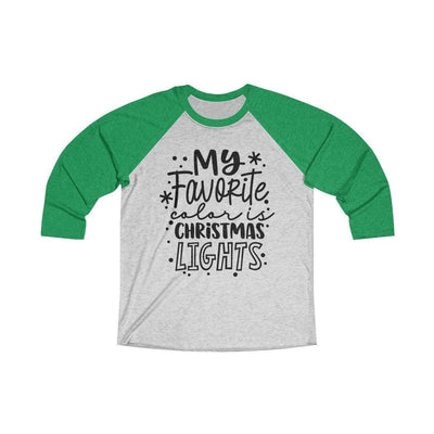Leanne & Co. Long-sleeve XS / Envy / Heather White My Favorite Color is Christmas Lights Raglan Tee