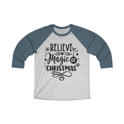 Leanne & Co. Long-sleeve XS / Indigo / Heather White Believe in the Magic of Christmas Unisex Raglan Tee