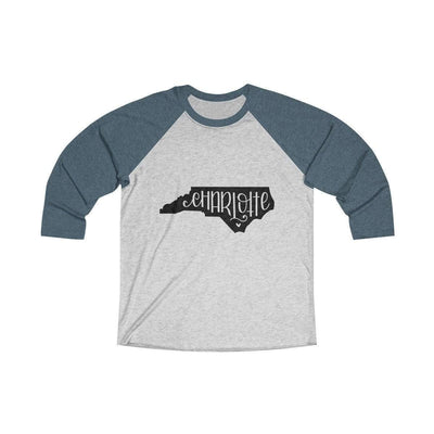 Leanne & Co. Long-sleeve XS / Indigo / Heather White Charlotte, NC Tri-Blend Raglan Tee