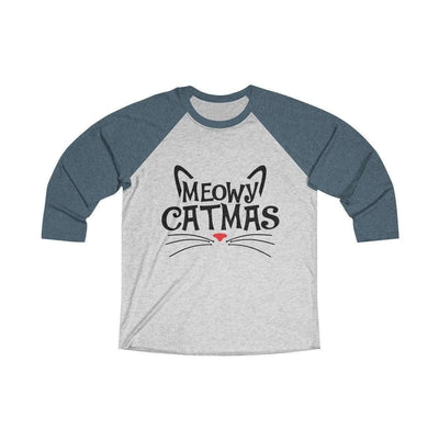 Leanne & Co. Long-sleeve XS / Indigo / Heather White Meowy Catmas Raglan Tee