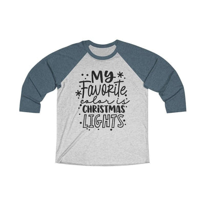 Leanne & Co. Long-sleeve XS / Indigo / Heather White My Favorite Color is Christmas Lights Raglan Tee