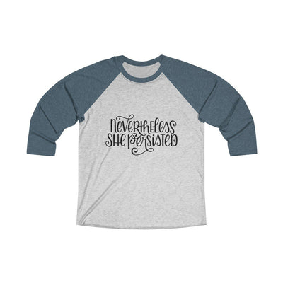 Leanne & Co. Long-sleeve XS / Indigo / Heather White Nevertheless She Persisted Raglan Tee