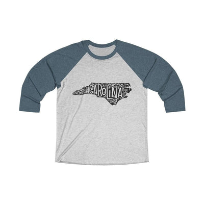 Leanne & Co. Long-sleeve XS / Indigo / Heather White North Carolina Home State Doodle Raglan Tee