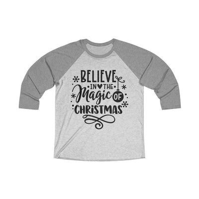 Leanne & Co. Long-sleeve XS / Premium Heather / Heather White Believe in the Magic of Christmas Unisex Raglan Tee