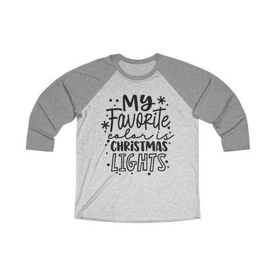 Leanne & Co. Long-sleeve XS / Premium Heather / Heather White My Favorite Color is Christmas Lights Raglan Tee