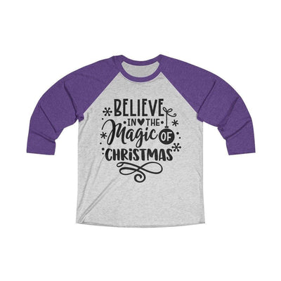 Leanne & Co. Long-sleeve XS / Purple Rush / Heather White Believe in the Magic of Christmas Unisex Raglan Tee