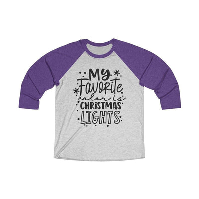 Leanne & Co. Long-sleeve XS / Purple Rush / Heather White My Favorite Color is Christmas Lights Raglan Tee