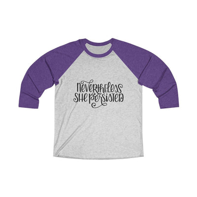 Leanne & Co. Long-sleeve XS / Purple Rush / Heather White Nevertheless She Persisted Raglan Tee