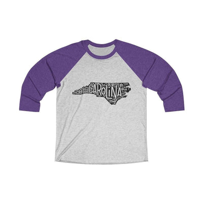 Leanne & Co. Long-sleeve XS / Purple Rush / Heather White North Carolina Home State Doodle Raglan Tee