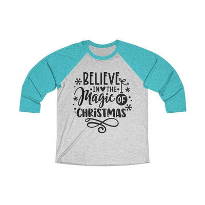 Leanne & Co. Long-sleeve XS / Tahiti Blue / Heather White Believe in the Magic of Christmas Unisex Raglan Tee