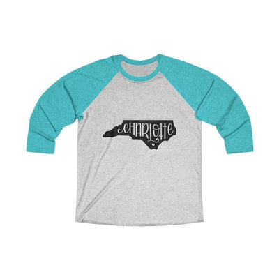 Leanne & Co. Long-sleeve XS / Tahiti Blue / Heather White Charlotte, NC Tri-Blend Raglan Tee