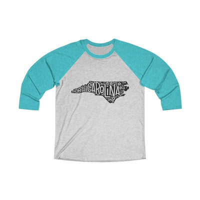 Leanne & Co. Long-sleeve XS / Tahiti Blue / Heather White North Carolina Home State Doodle Raglan Tee