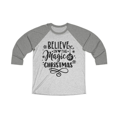 Leanne & Co. Long-sleeve XS / Venetian Grey / Heather White Believe in the Magic of Christmas Unisex Raglan Tee
