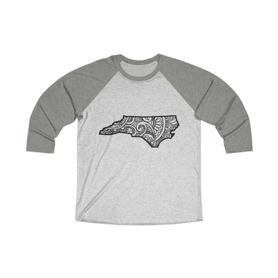 Leanne & Co. Long-sleeve XS / Venetian Grey / Heather White North Carolina Doodle Raglan Tee