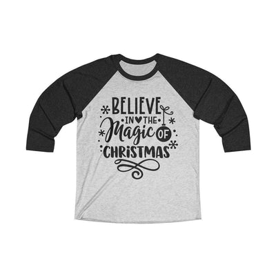 Leanne & Co. Long-sleeve XS / Vintage Black / Heather White Believe in the Magic of Christmas Unisex Raglan Tee