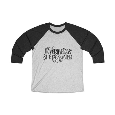 Leanne & Co. Long-sleeve XS / Vintage Black / Heather White Nevertheless She Persisted Raglan Tee