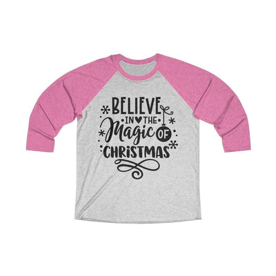 Leanne & Co. Long-sleeve XS / Vintage Pink / Heather White Believe in the Magic of Christmas Unisex Raglan Tee