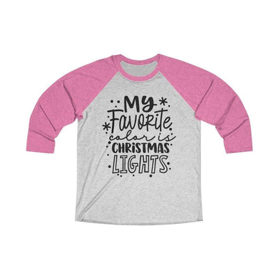 Leanne & Co. Long-sleeve XS / Vintage Pink / Heather White My Favorite Color is Christmas Lights Raglan Tee