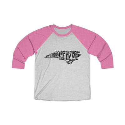 Leanne & Co. Long-sleeve XS / Vintage Pink / Heather White North Carolina Home State Doodle Raglan Tee