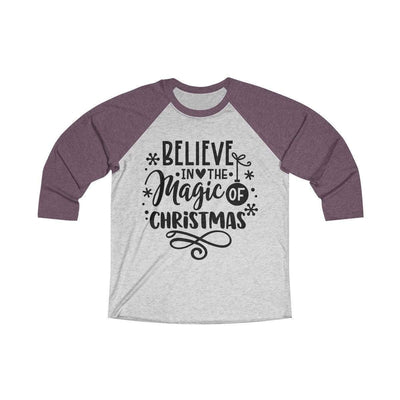 Leanne & Co. Long-sleeve XS / Vintage Purple / Heather White Believe in the Magic of Christmas Unisex Raglan Tee