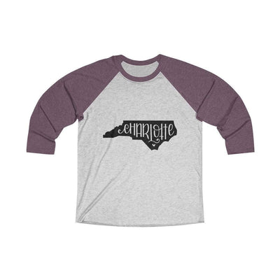 Leanne & Co. Long-sleeve XS / Vintage Purple / Heather White Charlotte, NC Tri-Blend Raglan Tee