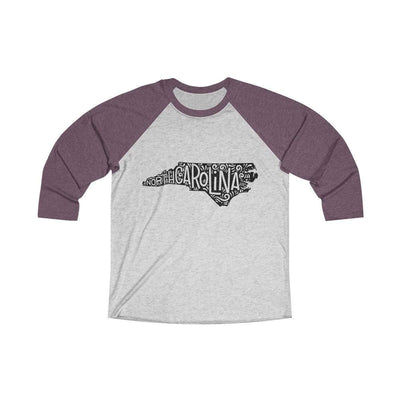 Leanne & Co. Long-sleeve XS / Vintage Purple / Heather White North Carolina Home State Doodle Raglan Tee