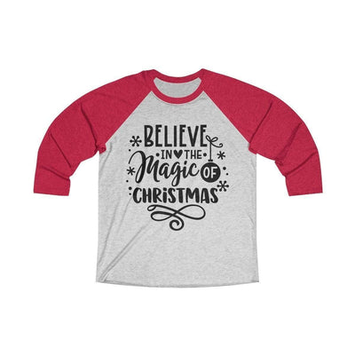 Leanne & Co. Long-sleeve XS / Vintage Red / Heather White Believe in the Magic of Christmas Unisex Raglan Tee