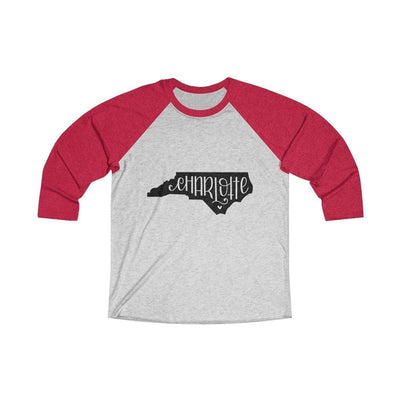 Leanne & Co. Long-sleeve XS / Vintage Red / Heather White Charlotte, NC Tri-Blend Raglan Tee