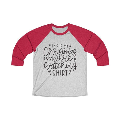 Leanne & Co. Long-sleeve XS / Vintage Red / Heather White Christmas Movie Watching Shirt Raglan Tee