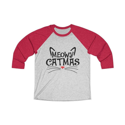 Leanne & Co. Long-sleeve XS / Vintage Red / Heather White Meowy Catmas Raglan Tee